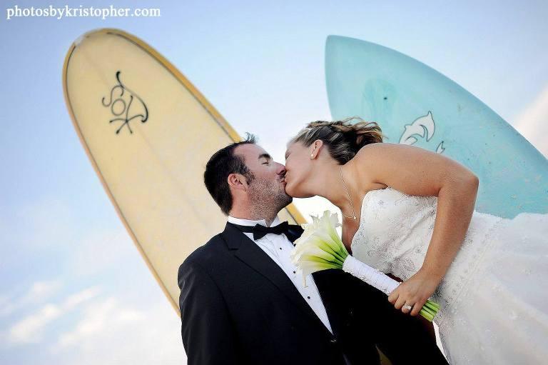 Surfboard wedding at Wrightsville beach