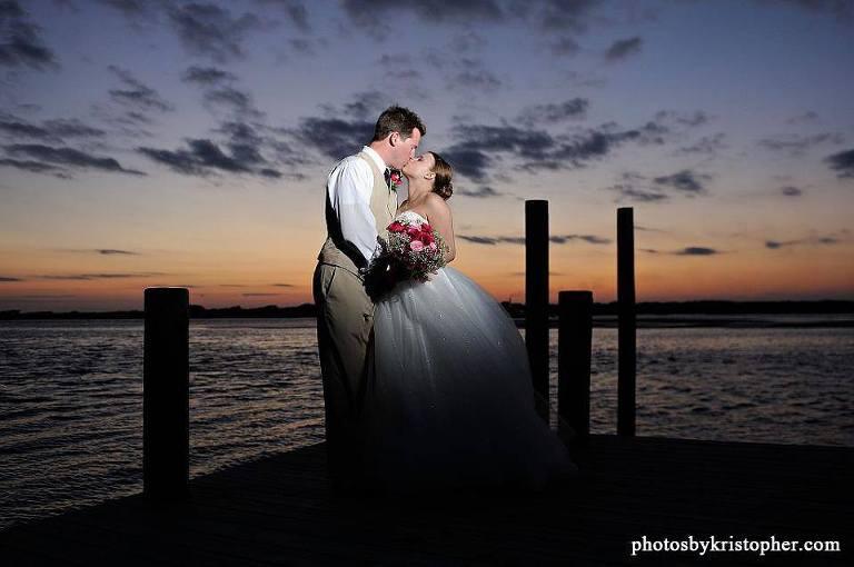 Topsail beach sunset wedding